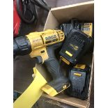 DEWALT CORDLESS DRILL DCD771 WITH CHARGER AND (2) 12V BATTERIES