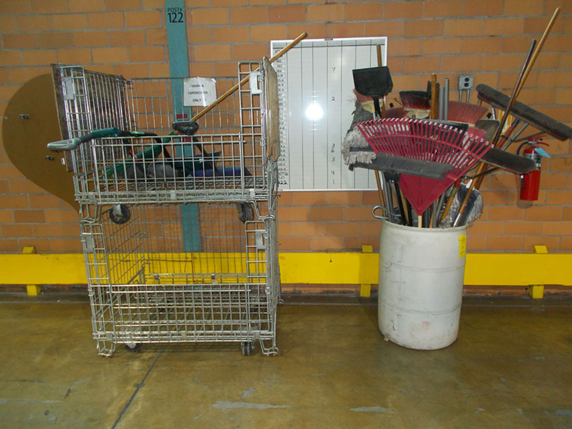 Lot 781A - (2) 4' X 3' STACK-ABLE ROLLING CARTS & PLASTIC DRUM WITH BROOMS, SHOVELS, DUST MOPS, ETC.