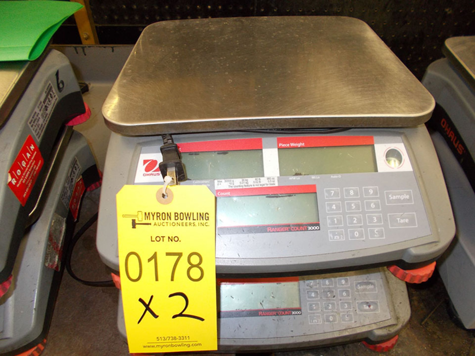 Lot 178 - (2) OHAUS RANGER COUNT 3000 ELECTRONIC SCALES