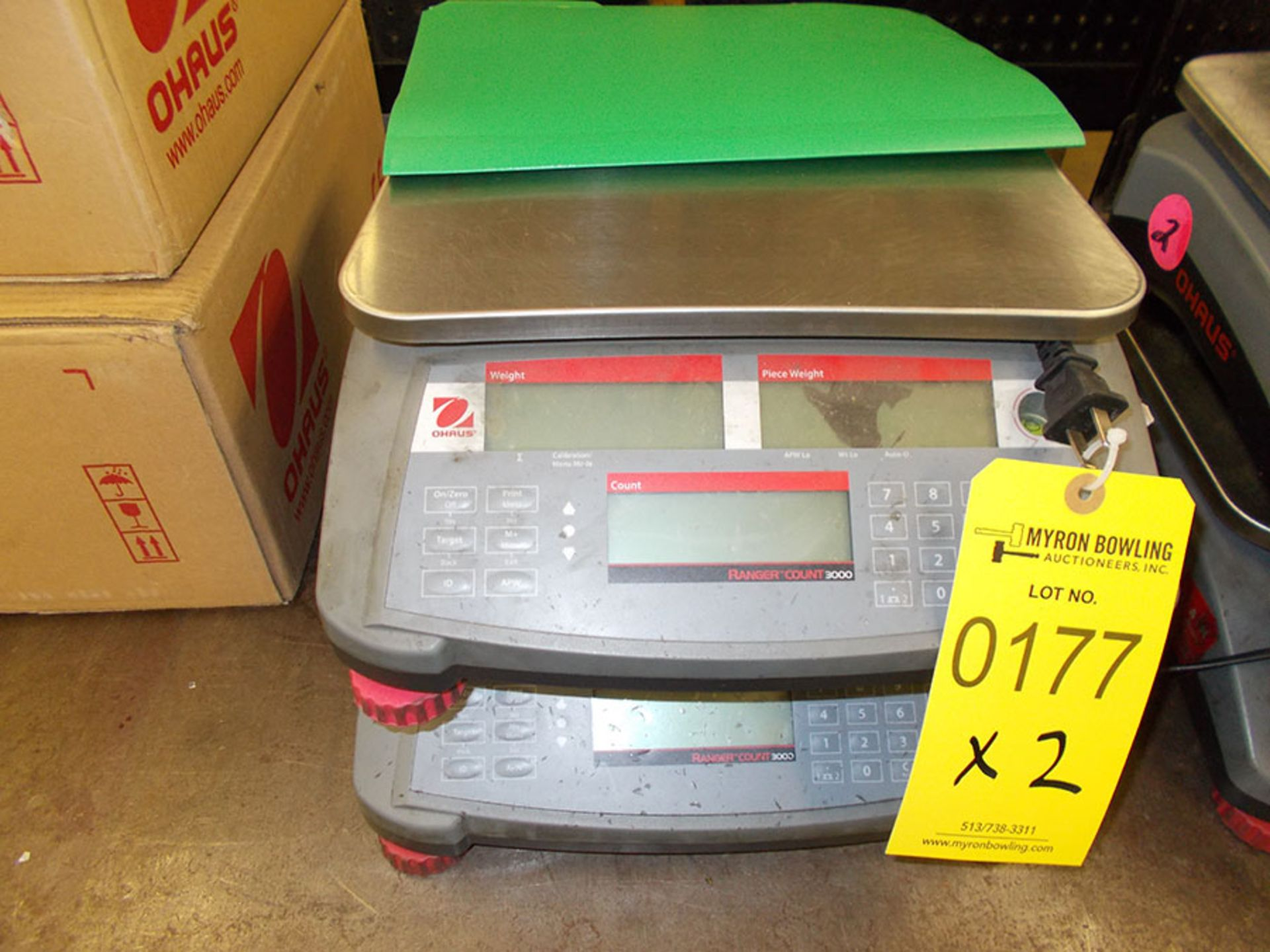 Lot 177 - (2) OHAUS RANGER COUNT 3000 ELECTRONIC SCALES