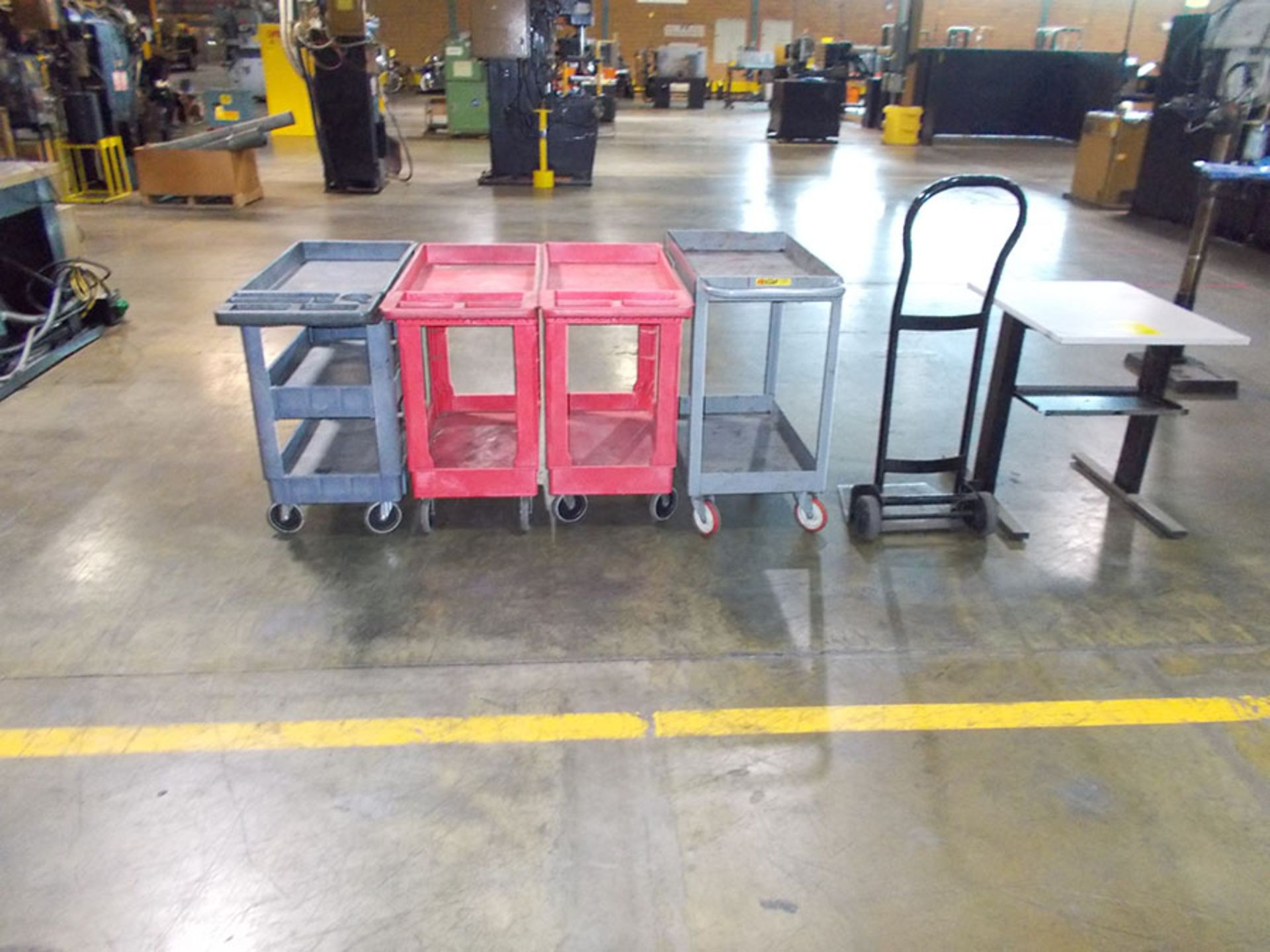 Lot 893A - (3) PLASTIC CARTS, STEEL CART, HAND TRUCK, AND TABLE