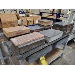 LOT OF ASSORTED GRANITE SURFACE PLATES ON STEEL WORKTABLE