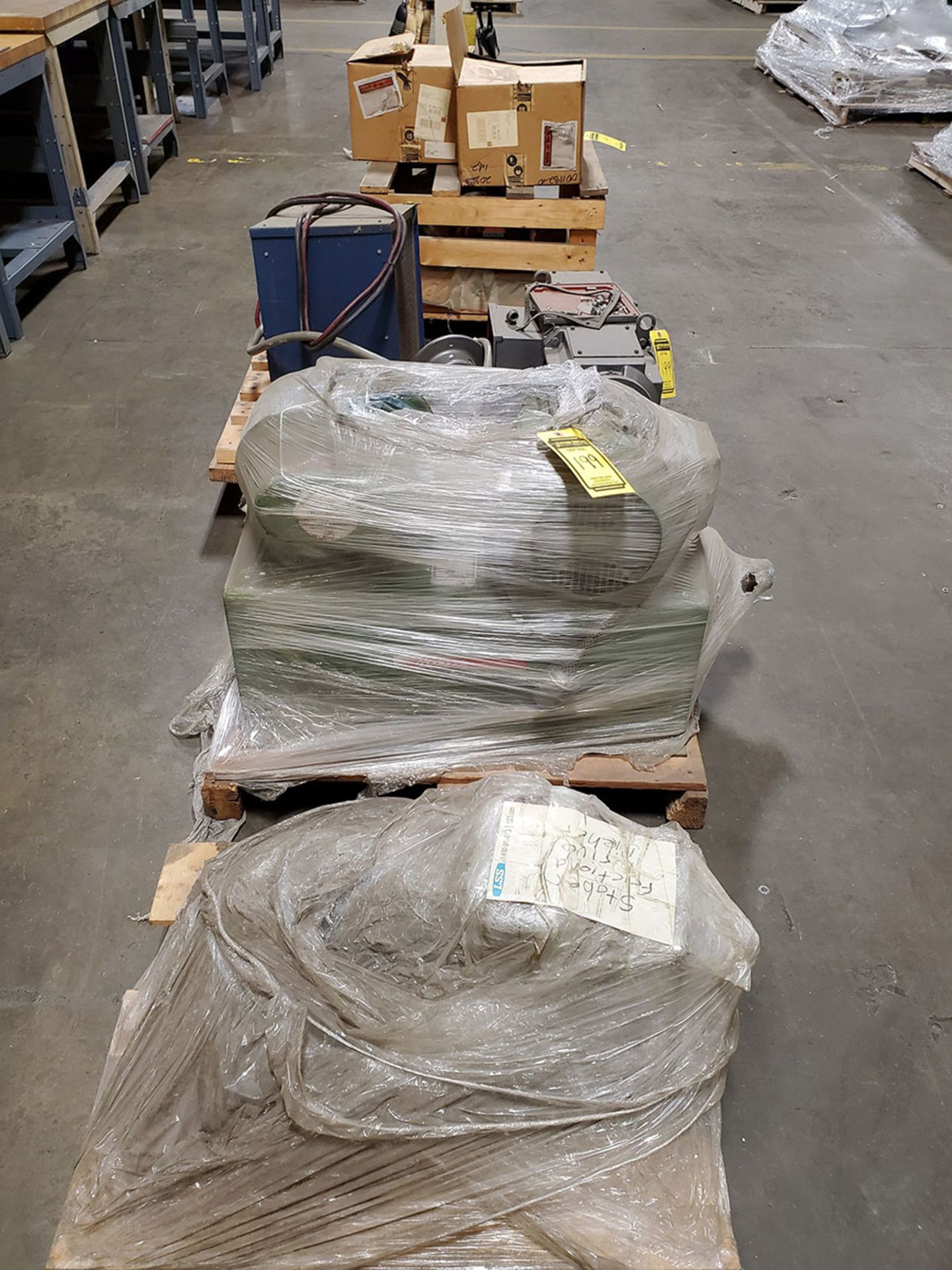 Lot 199 - LOT OF (4) SKIDS OF EXTRUDER SUPPORTS AND MOLD-TEK UNIT