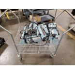 LOT OF MIDWEST PACIFIC IMPULSE HEAT SEALERS ON ROLLING METRO CART