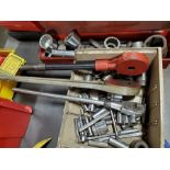 LOT OF SOCKETS, DRIVES, OVERSIZE SOCKETS, AND LOWELL WRENCH