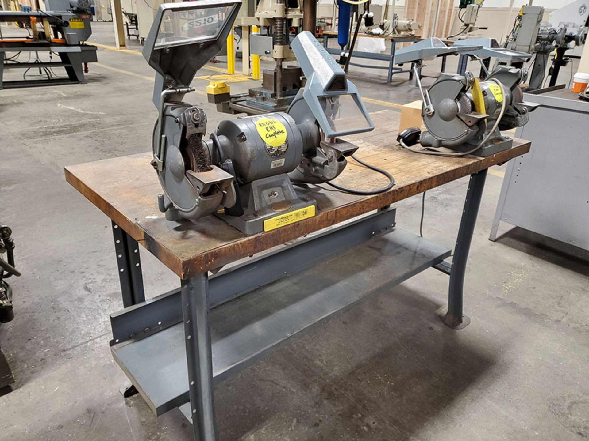 Lot 139 - LOT OF (2) ROCKWELL DOUBLE END GRINDERS MOUNTED ON BUTCHER BLOCK TABLE