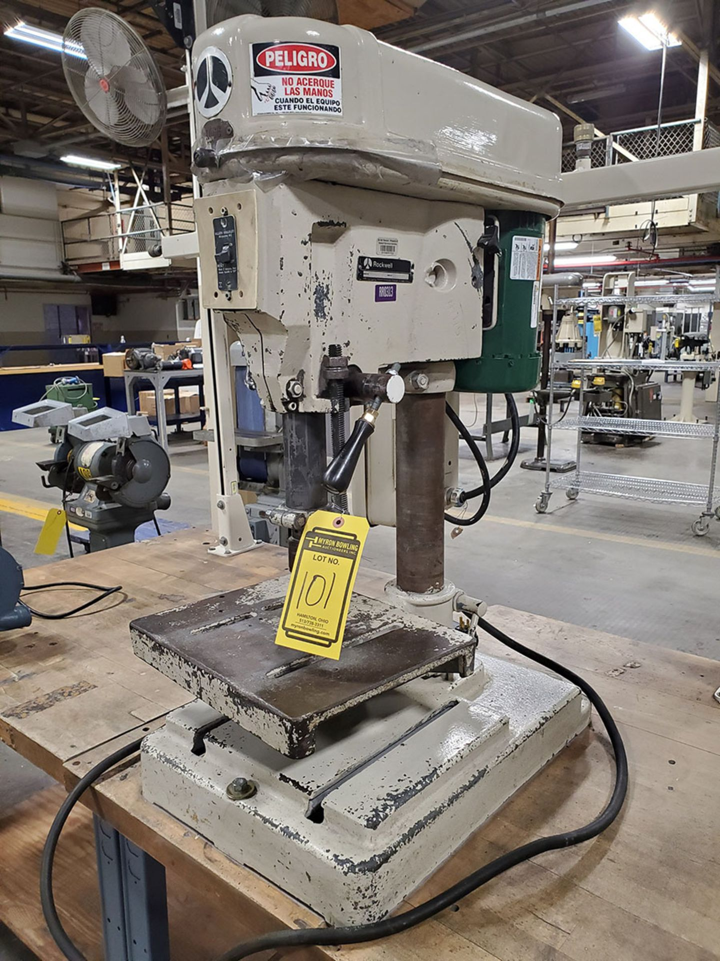 Lot 101 - ROCKWELL VERTICAL DRILL PRESS; S/N 1818982 & BALDOR GRINDER/BUFFER; CAT 623E, BOTH MOUNTED ON