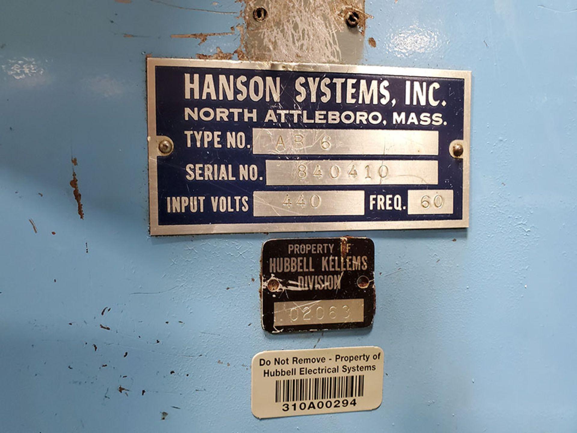 Lot 86A - HANSON SPOT WELDER; TYPE AB-6, S/N 840410, INPUT VOLTS 440, FREG. 60