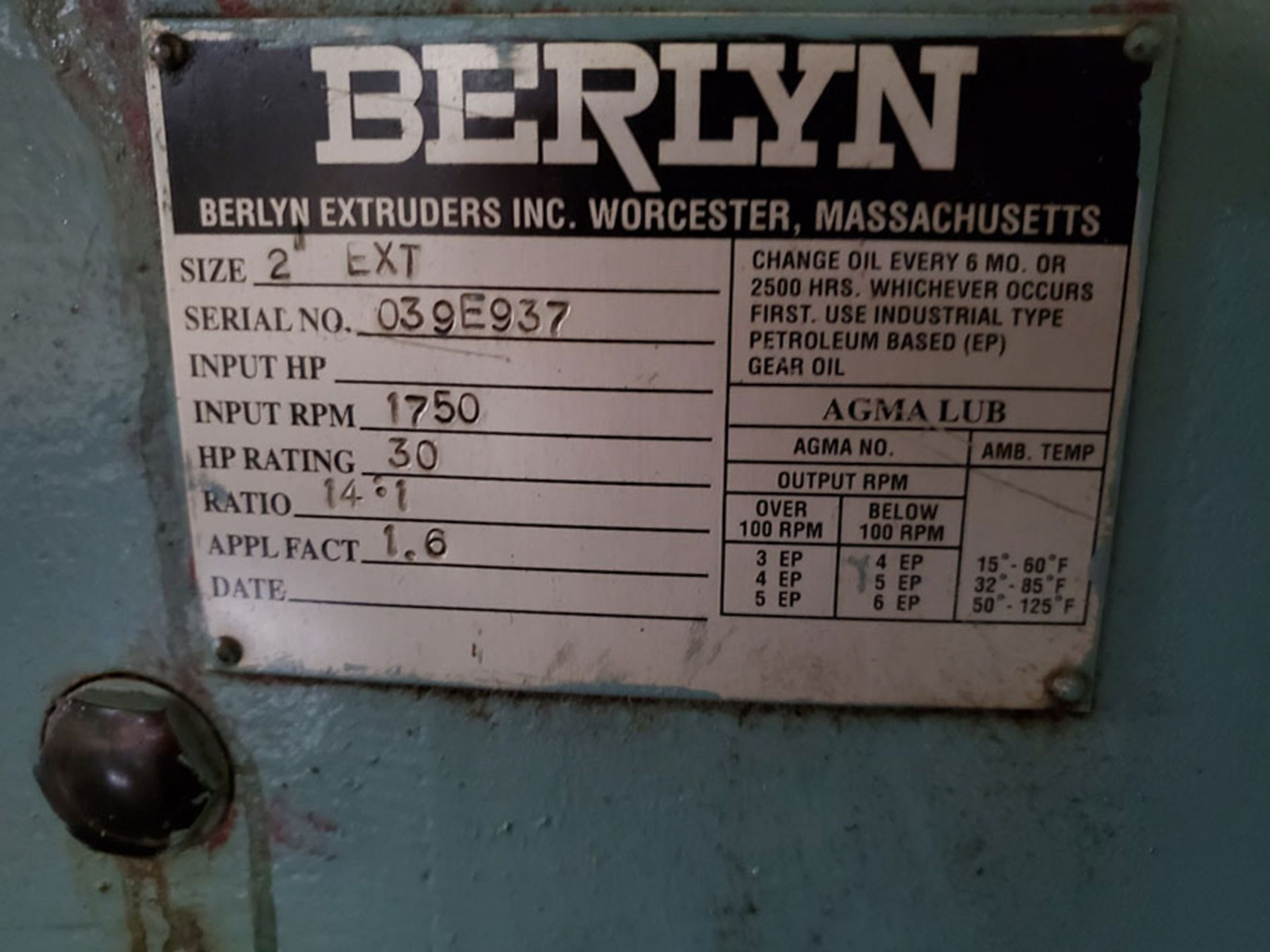 Lot 185 - BERLYN EXTRUDER; S/N 039E937, 1750 RPM INPUT, 30-HP RATING, SIZE 2 EXT.