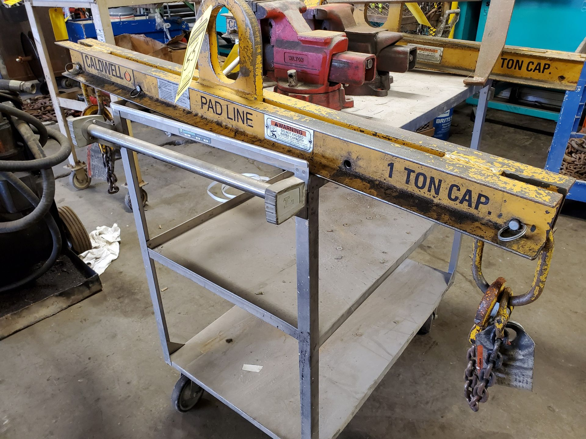 Lot 55 - (2) CALDWELL 1-TON CAP. SPREADER BARS, 45'' L. & CRANE HOOK ATTACHMENT