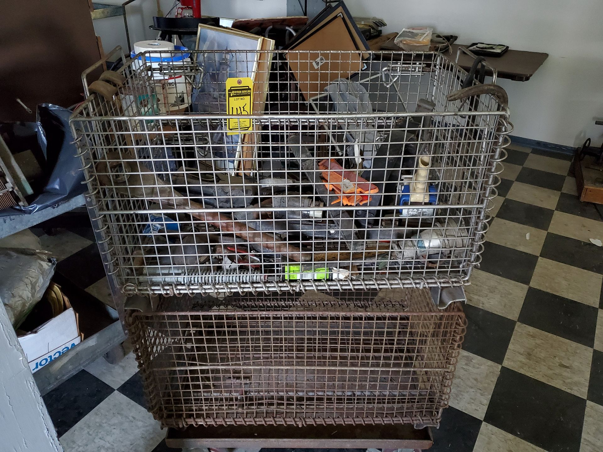 Lot 145 - CART & (2) WIRE BASKETS W/ MISC. CONTENTS