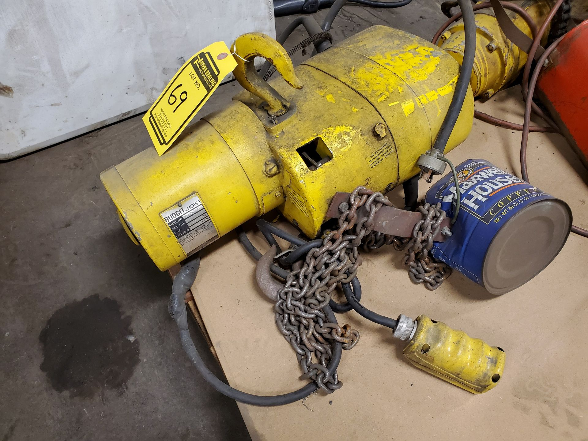 Lot 69 - BUDGIT 1/4 TON ELECTRIC CHAIN HOIST, S/N 97028