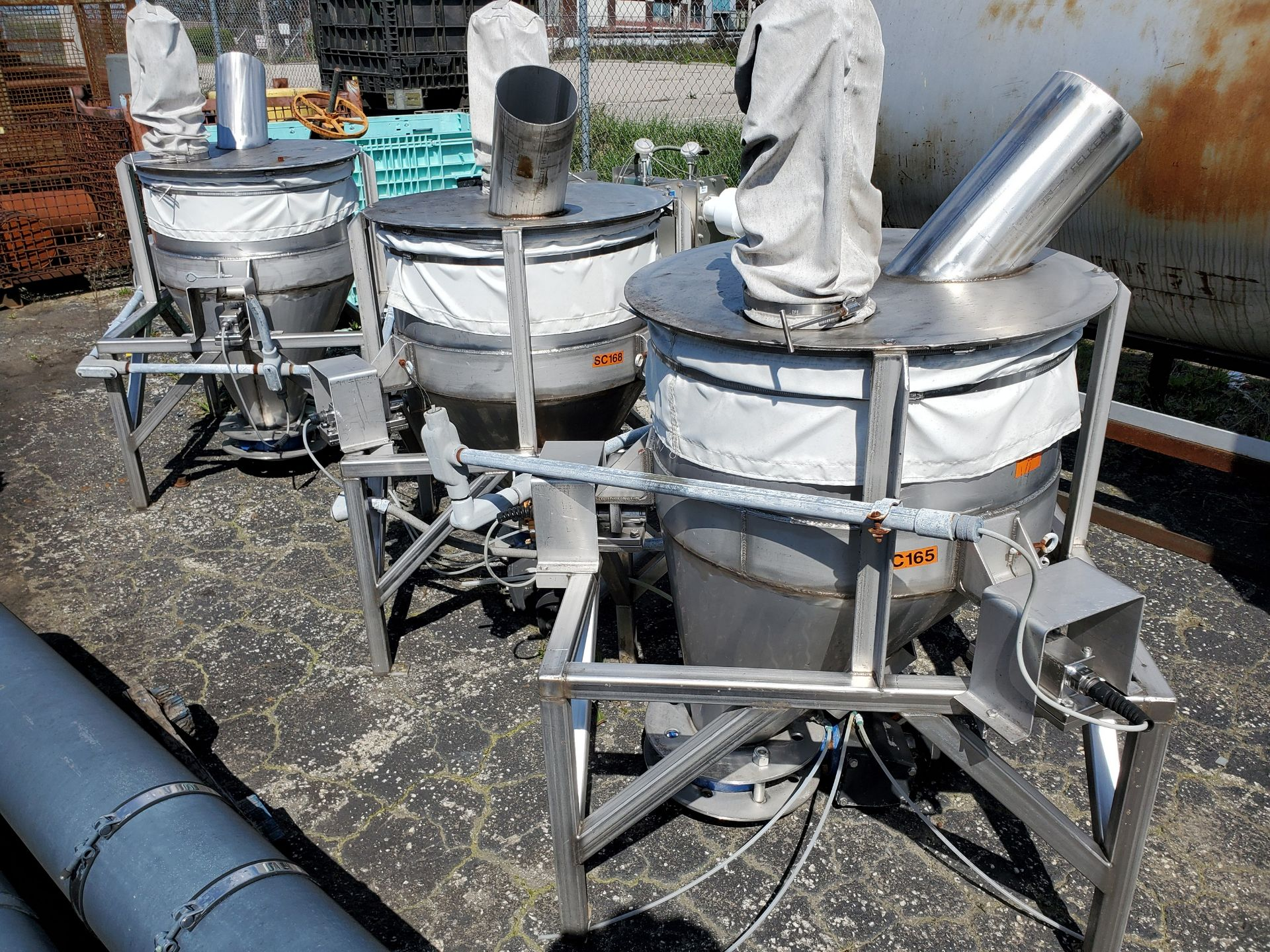 Lot 97 - (3) STAINLESS STEEL HOPPERS