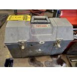 TUFF-BOX TOOL BOX W/ ASSORTED SCREWDRIVERS & WESTWARD HYDRAULIC BOTTLE JACK, ASSORTED DRILL BITS