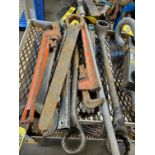 ASSORTED WRENCHES, (2) 24'' PIPE WRENCHES, MACHINE WRENCHES
