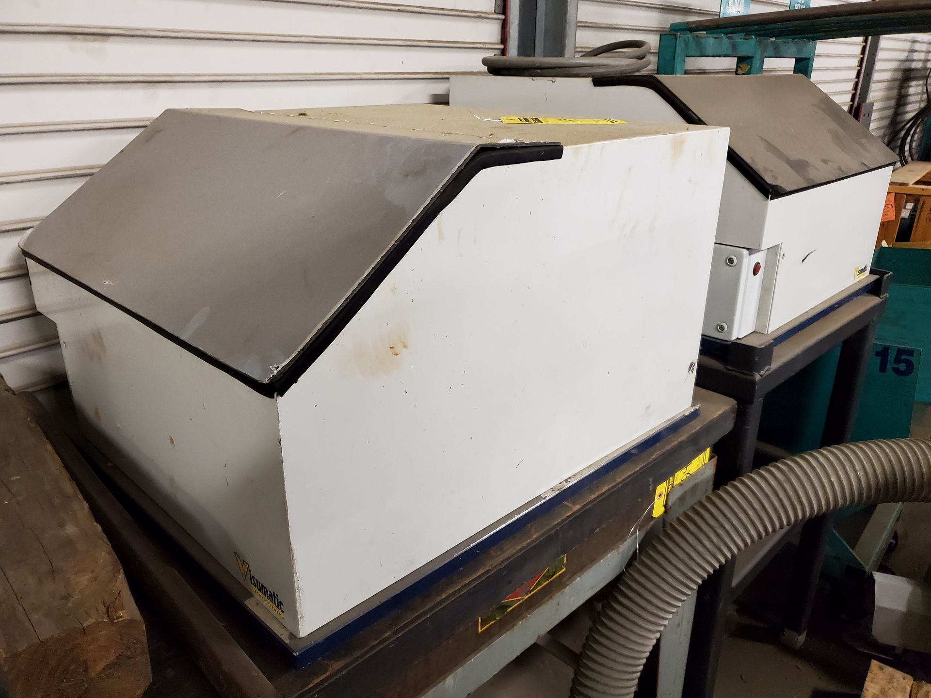 Lot 123 - (2) VISUMATIC SCREW FEEDERS, AUTO VIBRATORY FEEDER CONTROL BY AUTOMATION DEVICES (APPROX. 16''