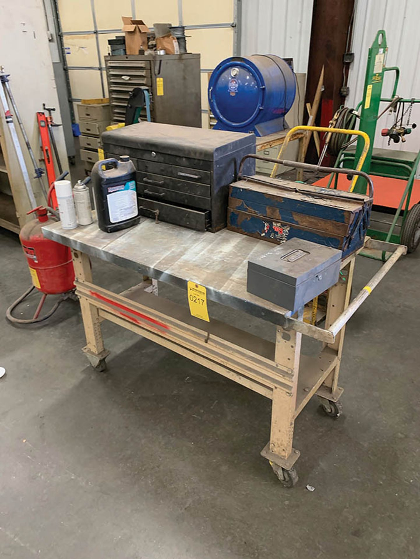 ROLLING TABLE AND (2) TOOL BOXES