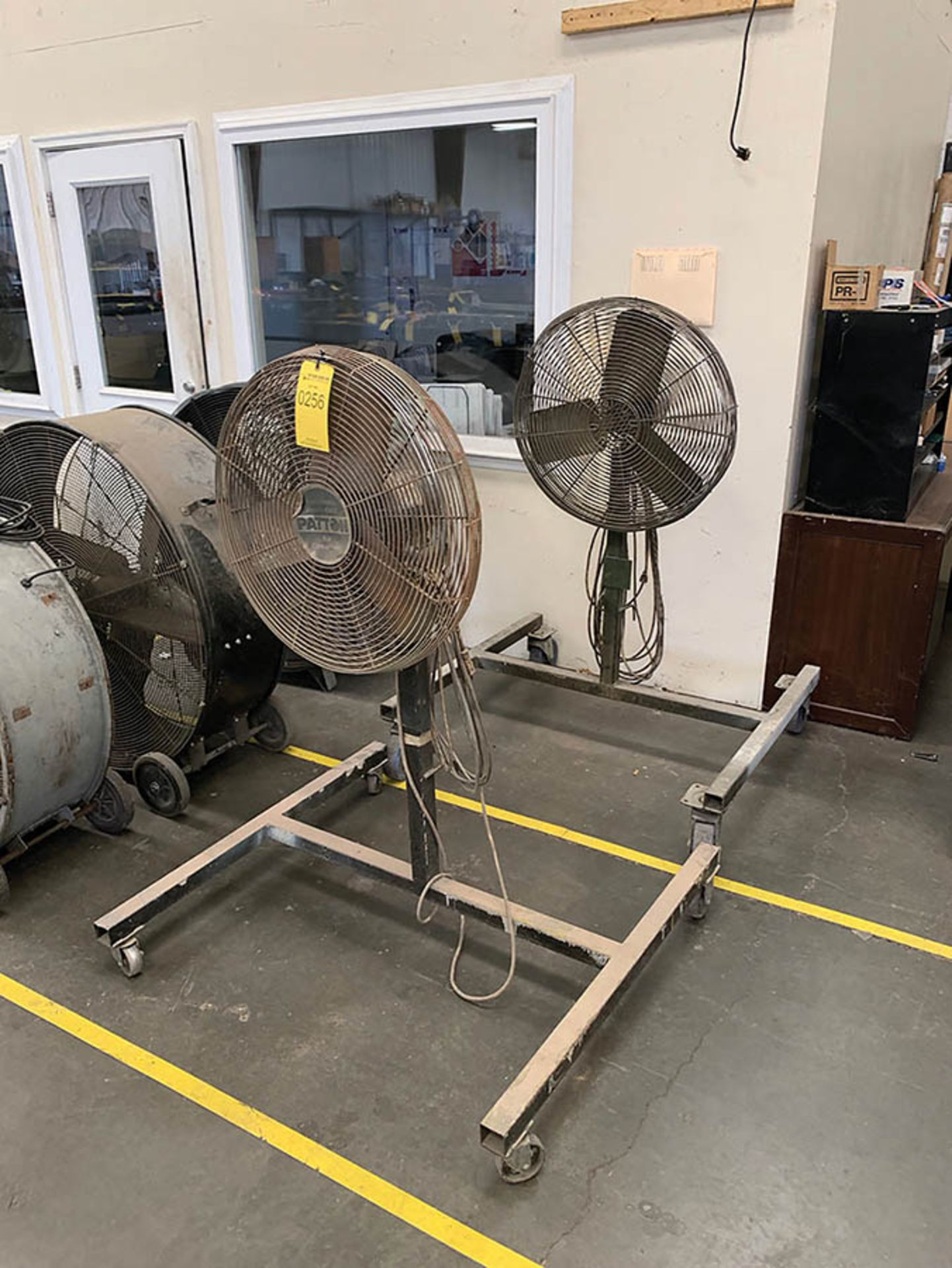Lot 256 - (2) PEDESTAL FANS ON CUSTOM ROLLING CARTS