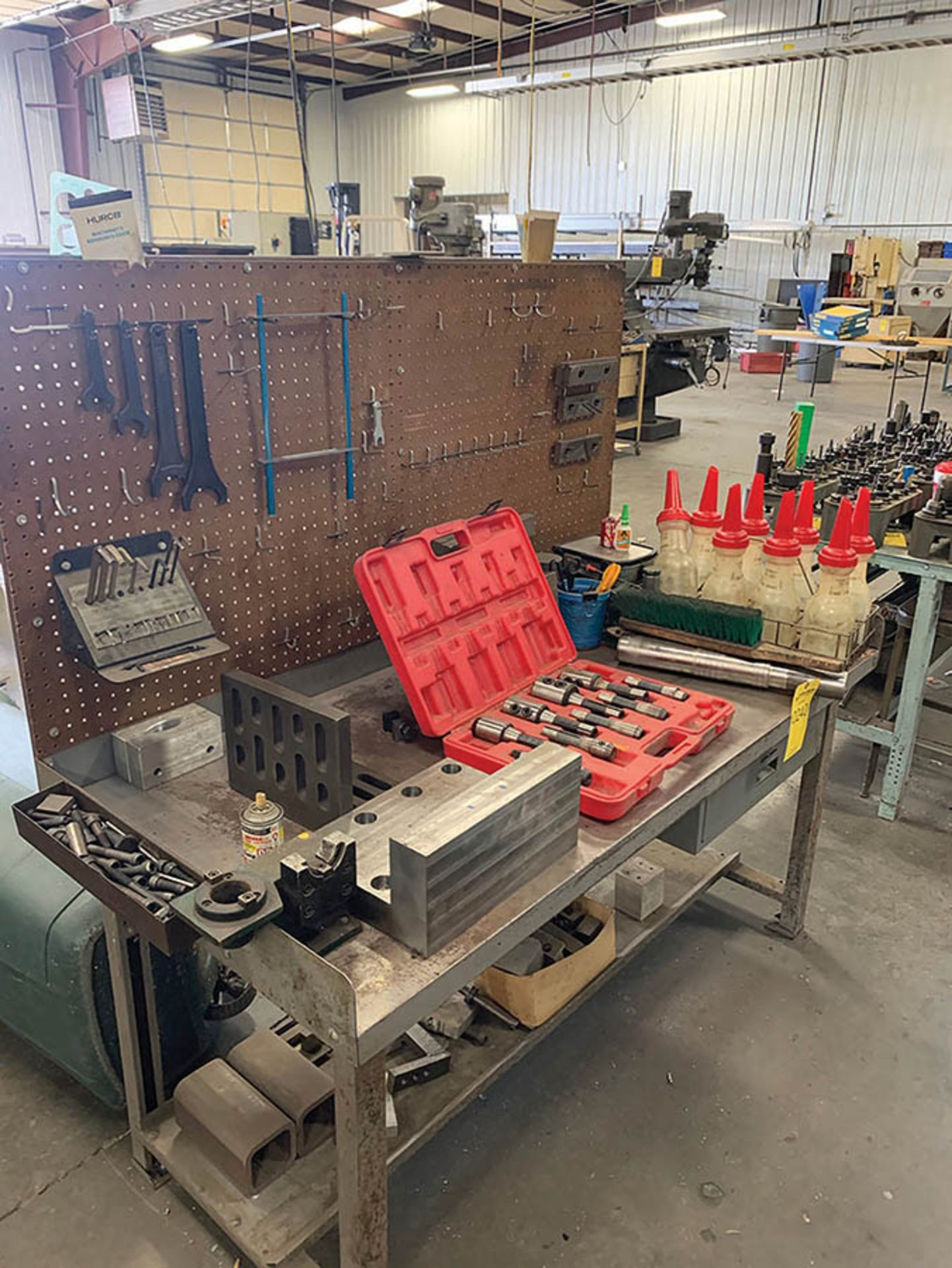 Lot 240 - STEEL WORK BENCH WITH PEGBOARD BACK 5' X 2'
