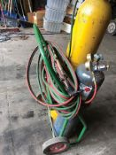 OXYGEN ACETYLENE HOSES, GAUGES, AND CART (NO TANKS)