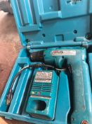 MAKITA CORDLESS DRILL 6095D, S/N 1685517, W/ CHARGER AND 9.5V BATTERY