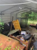 CONTENTS OF SHED INCLUDING PTO DRIVEN 36'' ROTOTILLER, STAKEBED SIDES, BUILDING LOUVER