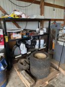 ASSORTED MISC. PARTS ON SHELF AND PALLET, INCLUDING TIRES AND JUMPER PACK