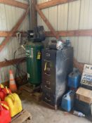 FARMHAND 60 GALLON, 7HP, 135PSI, 230V VERTICAL AIR COMPRESSOR AND FILING CABINET OF FITTINGS