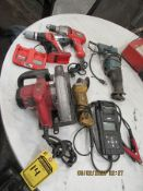 ASSORTED POWER TOOLS, SKIL SAW, B & D DRILLS, AND (2) SAWHORSES