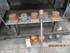 ASSORTED AMBER BEACONS, (2) FLOOR CREEPERS, LIGHT BAR, AND ASSORTED OIL CAN FUNNELS