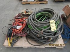 ASSORTED JUMPER CABLES, ELECTRIC CORDS, 3-4 PHASE WIRE, AND ASSORTED WIRE
