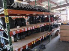 CONTENTS OF RACKING & NEXT TO IT - FIBER & POLY PIPE FITTINGS; STEEL FITTINGS; FLANGES