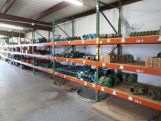 CONTENTS OF RACKING - ASSORTED CHECK VALVES; GROOVED PIPE FITTINGS; GROOVED CLAMPS; BUTTERFLY