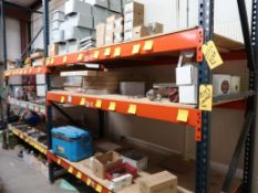 CONTENTS OF RACKING - SOLAR PANELS, CONTROL BOXES, PIPE FITTINGS, HYDRAULIC HOSE, WIRE, GALVANIZED