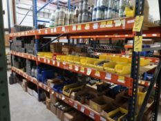 CONTENTS OF RACKING - ASSORTED PIPE NIPPLES, PIPE SWAGES, UNIONS, COUPLINGS, AND TAP PLUGS