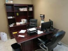 CONTENTS OF OFFICE & FRONT STORE - (4) DESKS, CREDENZA, (2) FILE CABINETS, KYOCERA ECOSYS M3550IDN