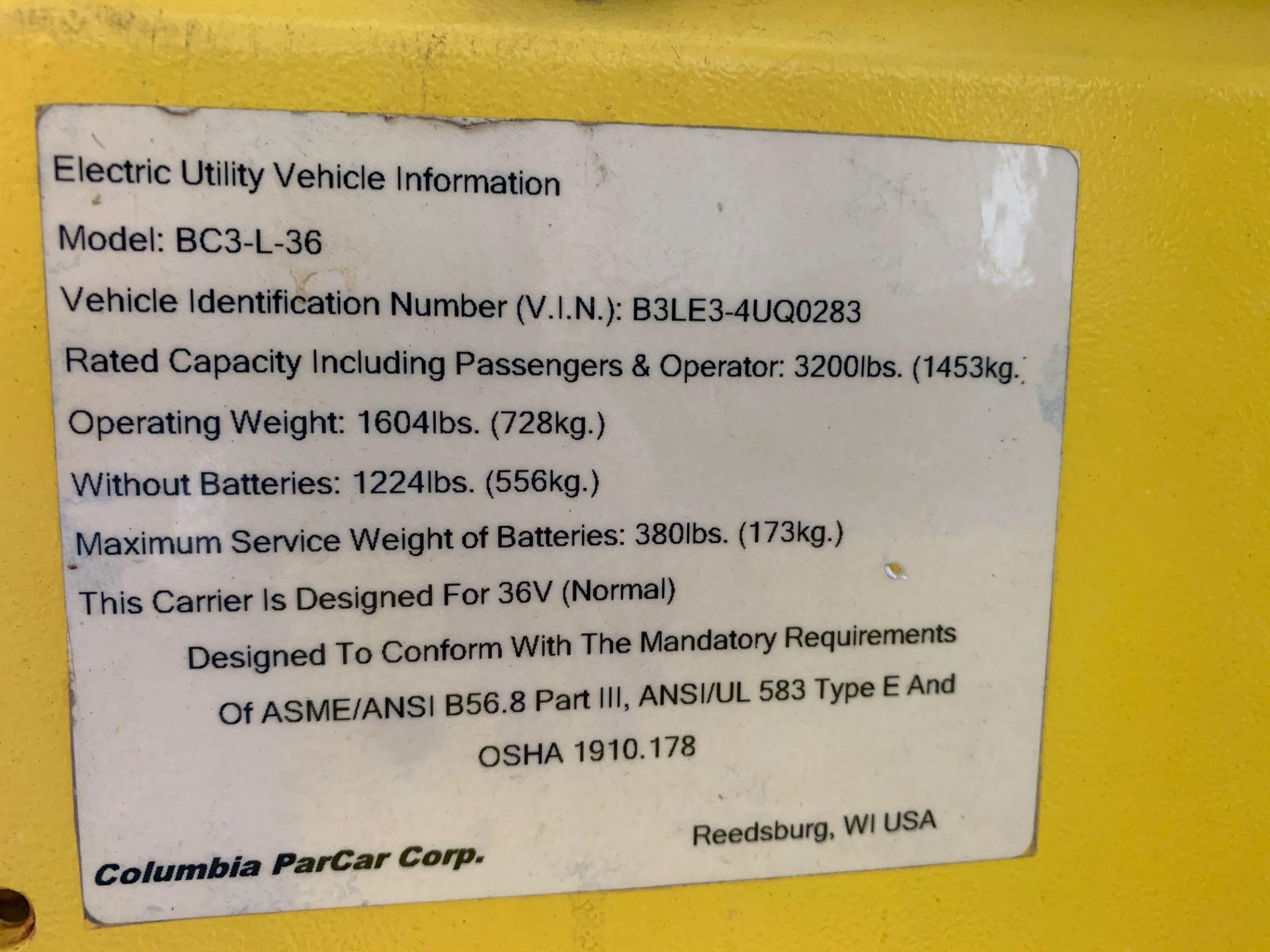 Lot 33 - 2016 COLUMBIA MAINTENANCE CART, MOD: BC3-L-36, 3,200-LB. CAP. 36V, ON-BOARD CHARGER, RUNS & OPERATES
