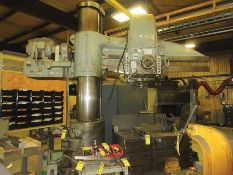 CARLTON 17'' X 6' RADIAL ARM DRILL W/ 56'' X 34'' X 26'' MACHINE BLOCK, MODEL: 3A, S/N 3285, SPEED