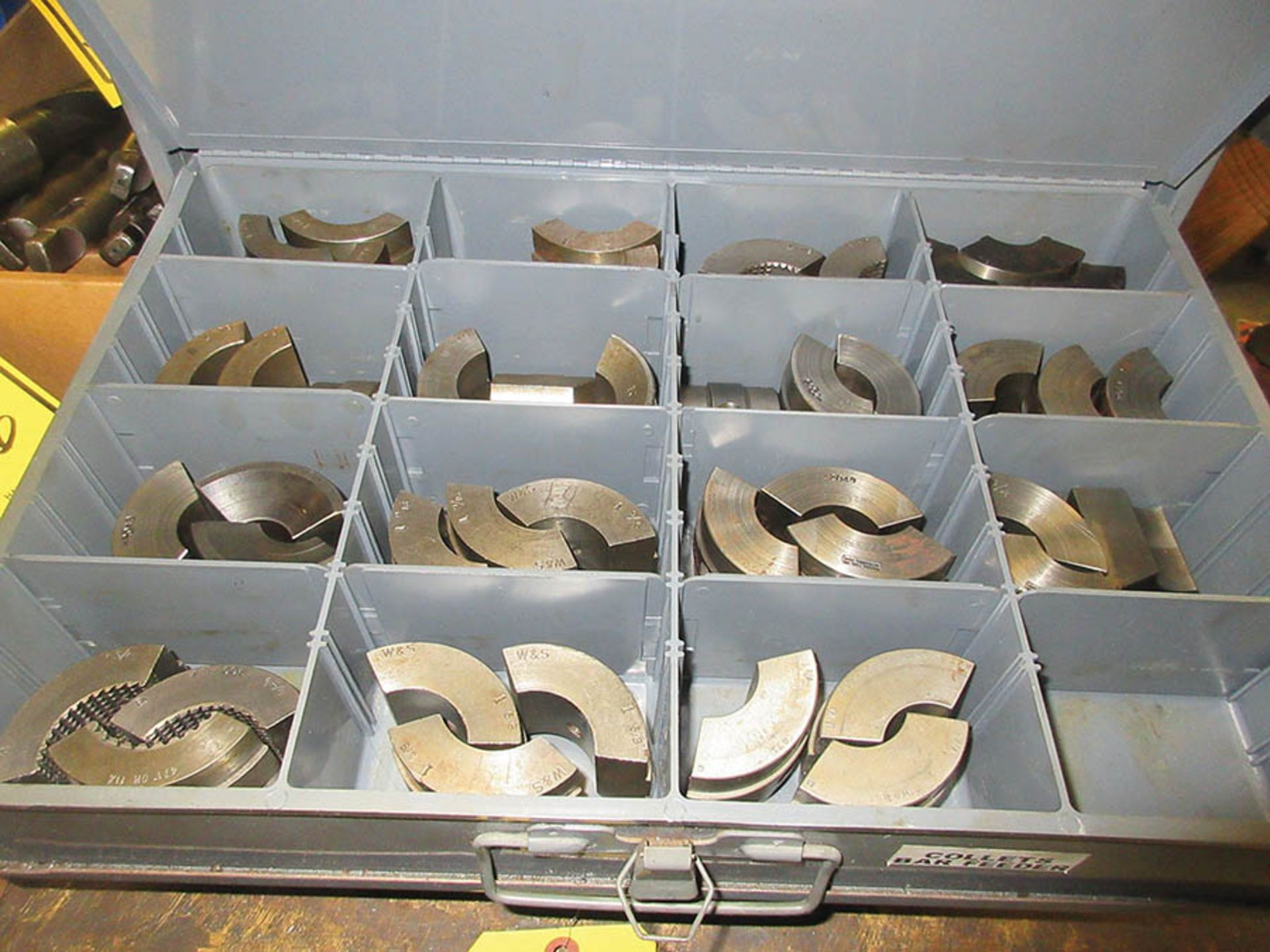 Lot 44 - COLLET PADS & (4) DRAWER PARTS CABINET W/ COLLET PADS FOR WARNER-SWASEY