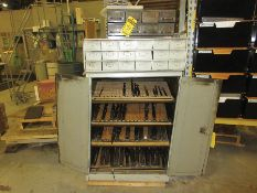 CABINET W/ ASSORTED DRILLS, ALLEN WRENCHES