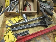 ASSORTED HAND TOOLS: 18'' ADJ. WRENCH, END WRENCHES, RATCHET