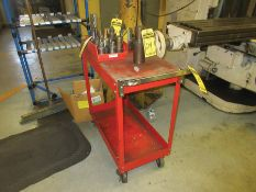CART W/ CINCINNATI TOOLING: (2) MILLING HEADS, TOOL HOLDERS & DRILL BITS