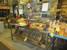 30'' X 60'' WORKBENCH W/ COLUMBIAN 4'' BENCH VISE & ASSORTED TOOLING: TAPER SHANK DRILL BITS,
