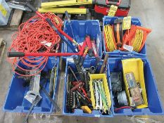 PALLET W/ ASSORTED TOOLS: BOLT CUTTERS, EXTENSION CORDS, FISH TAPE, CENTER PUNCHES