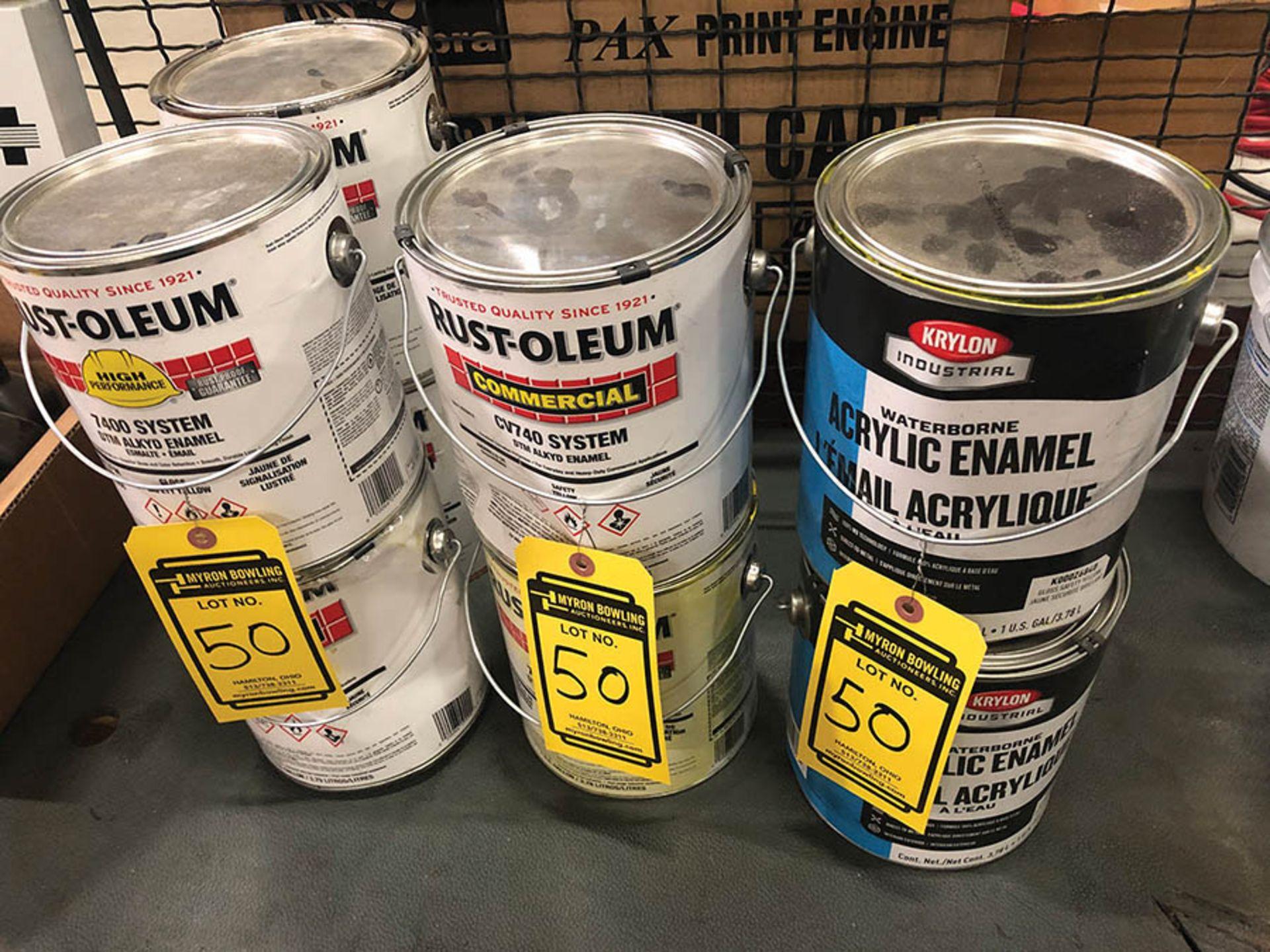 Lot 50 - (6) - 1 GALLON CANS OF RUST-OLIEUM DTM ALKYD ENAMEL AND (3) KRYLON 1 GALLON CANS OF ACRYLIC ENAMEL