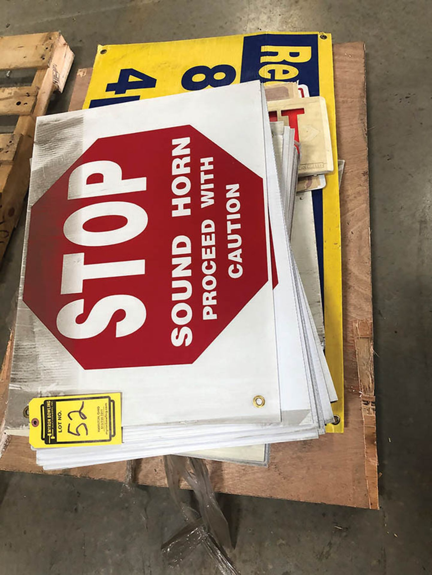 Lot 52 - SKID OF ASSORTED SIGNS
