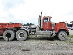 1991 MACK RW600 T/A DAY CAB TRACTOR, 10-SPEED TRANS WITH DEEP REDUCTION RANGE, WET LINES MACK INLINE