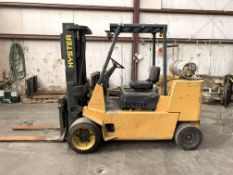 "HYSTER 12,000-LB. CAP FORKLIFT, MODEL: S120XL2S, LPG, SOLID TIRE, 3-STAGE, 162"" LIFT, 9,539 HOURS"