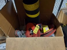 BOX OF (2) PNEUMATIC HOSE REELS, CASTERS AND FATIGUE MATS