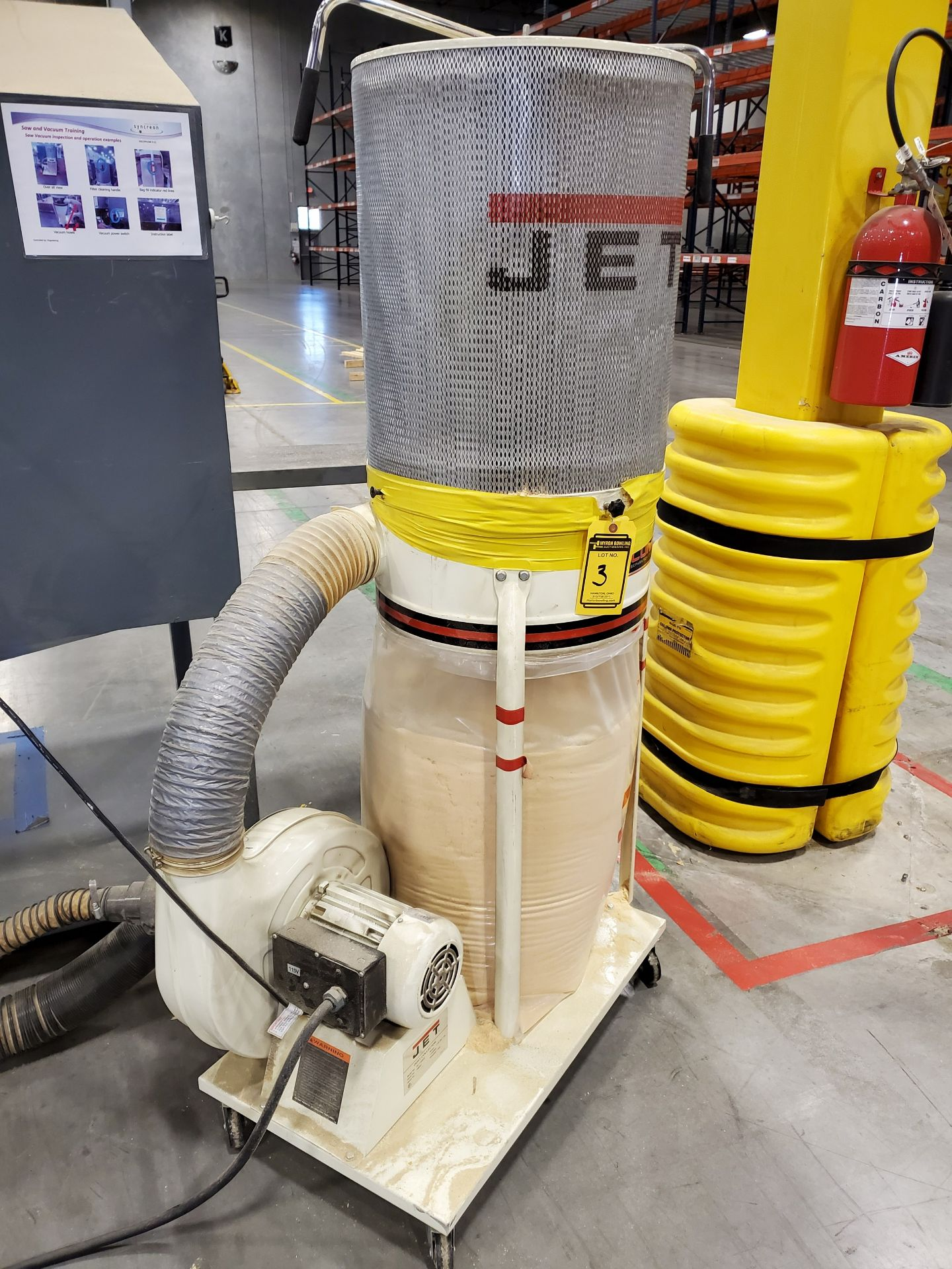 Lot 503 - JET VORTEX CONE PORTABLE DUST COLLECTOR, MODEL DC-1100VX, 1.5 HP, 115/230V BOTTOM REPLACEABLE BAG,